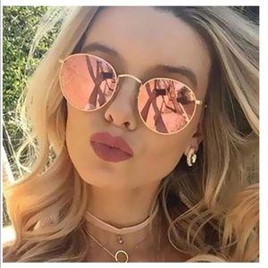Rose Gold Round Mirrored Sunglasses